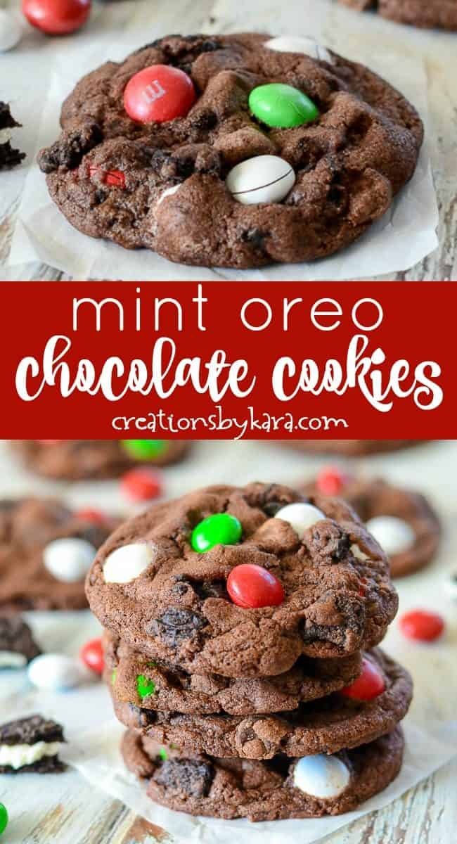 Recipe collage for mint oreo chocolate cookies