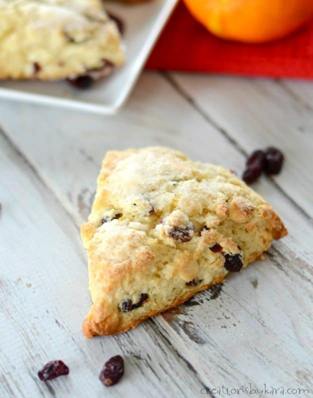 Cranberry Scones with orange zest and white chocolate. A perfect scone recipe!