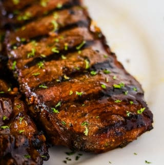 marinated grilled steak on a plate