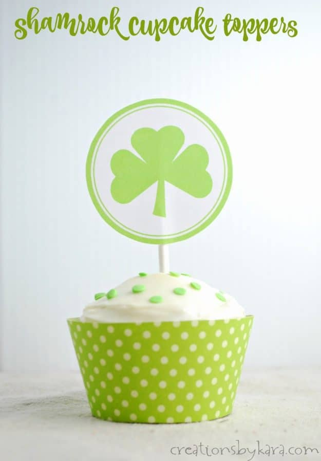 Free printable St. Patricks Day cupcake toppers