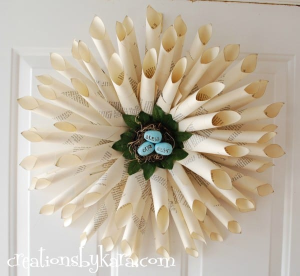 diy, tutorial, book-page-wreath