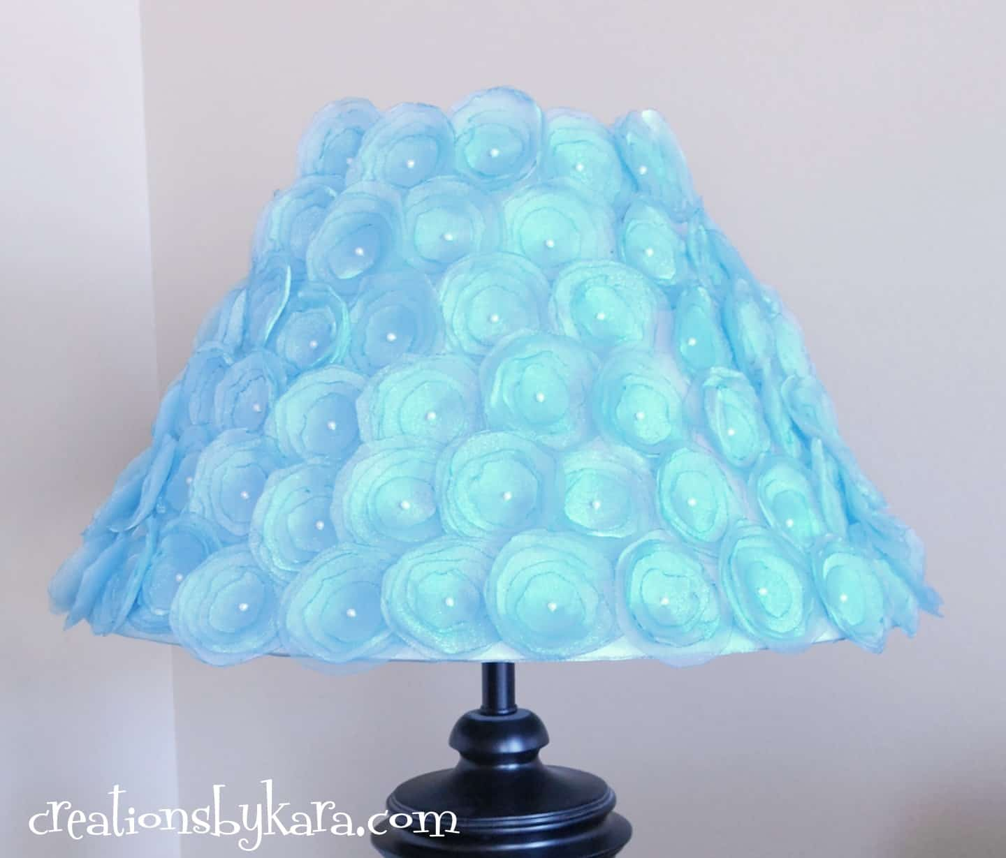 Diy lampshade redo canvas rosettes Home decorators lamp shades