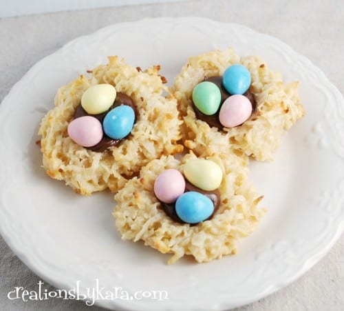 Easter recipe-macaroon nests with nutella