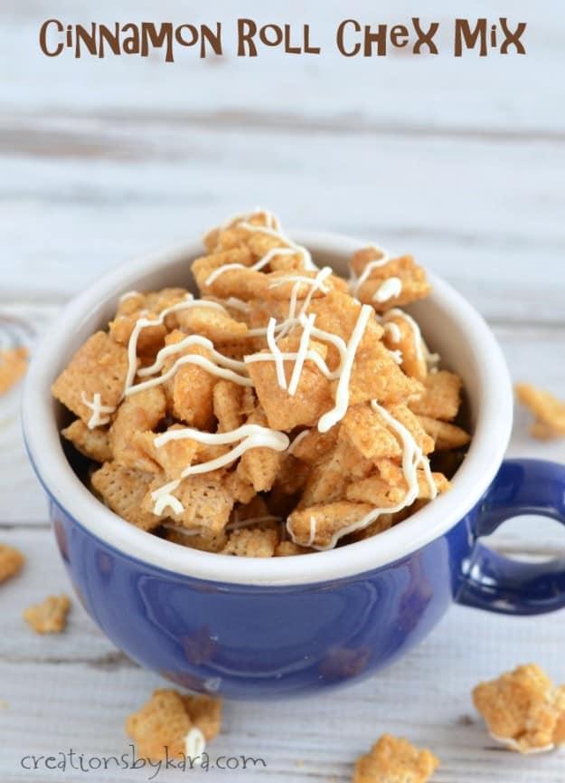 cinnamon sugar snack mix in a bowl