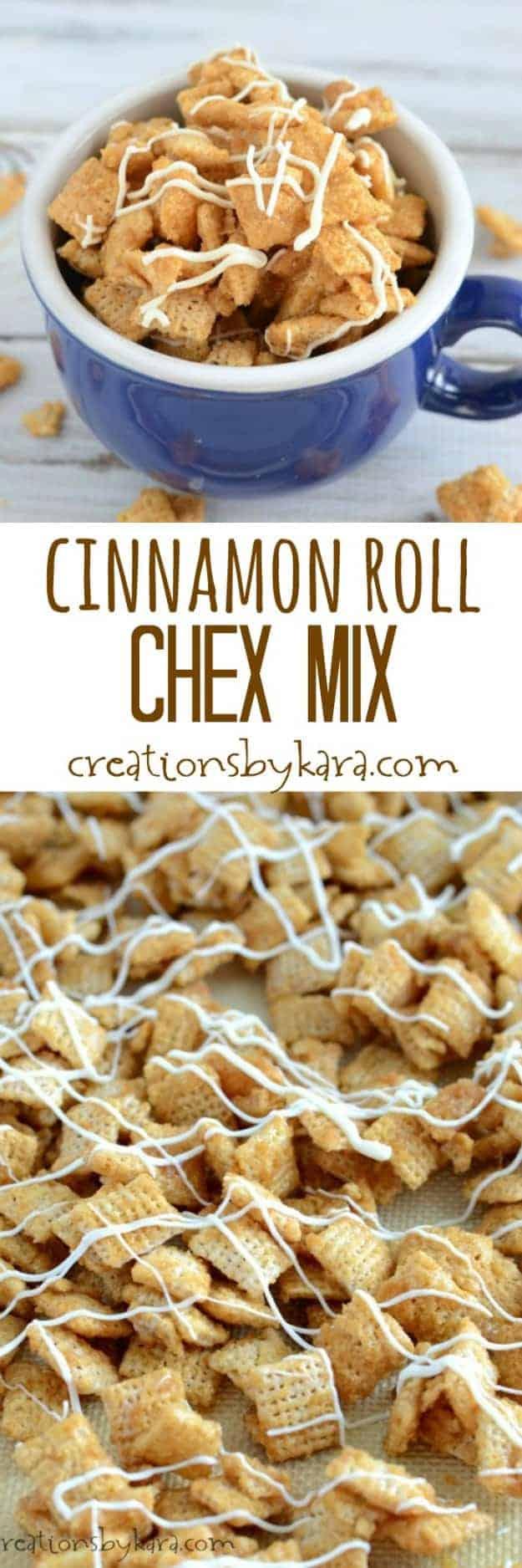 cinnamon roll chex mix recipe collage