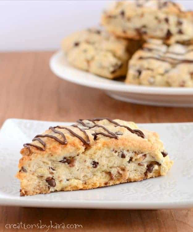 Toffee Chocolate Chip Scones - an easy recipe that makes some of the tastiest scones you will ever try!