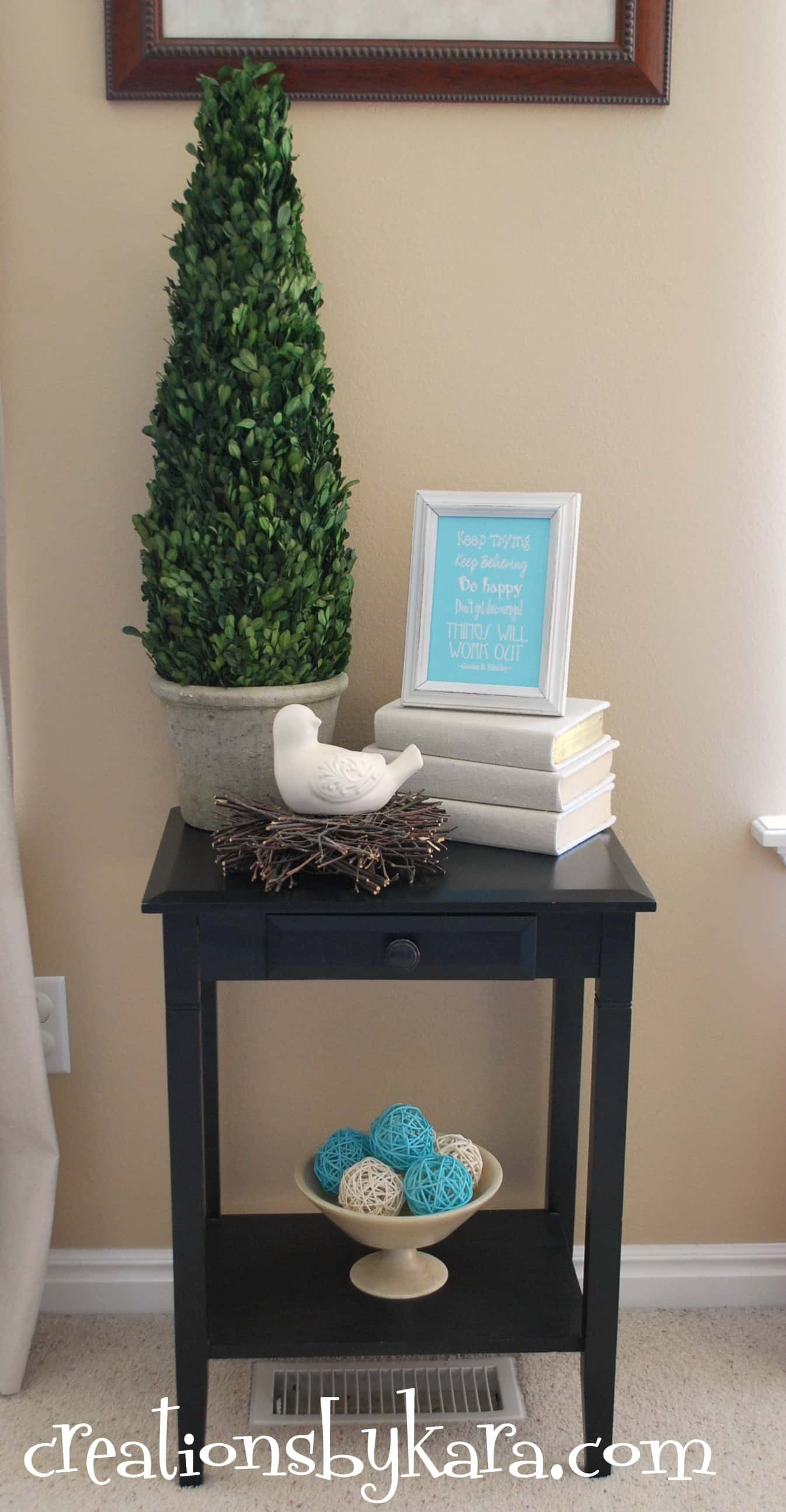 Diy decorating living room table creations by kara for Living room table decor