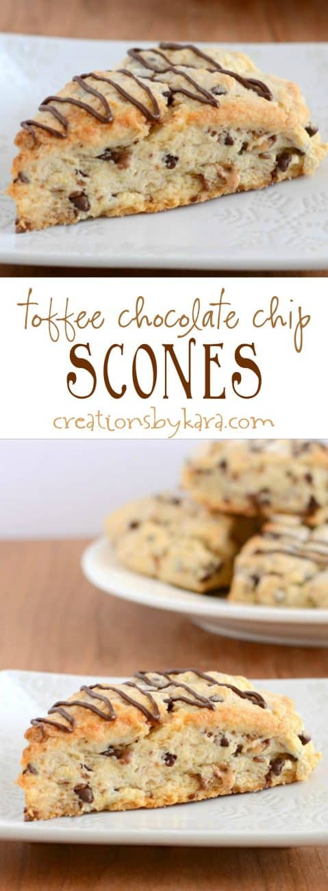 Recipe for yummy toffee chocolate chip scones.