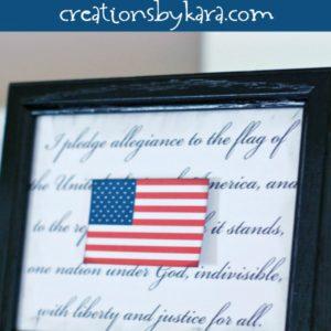 pledge of allegience and flag printable in black frame