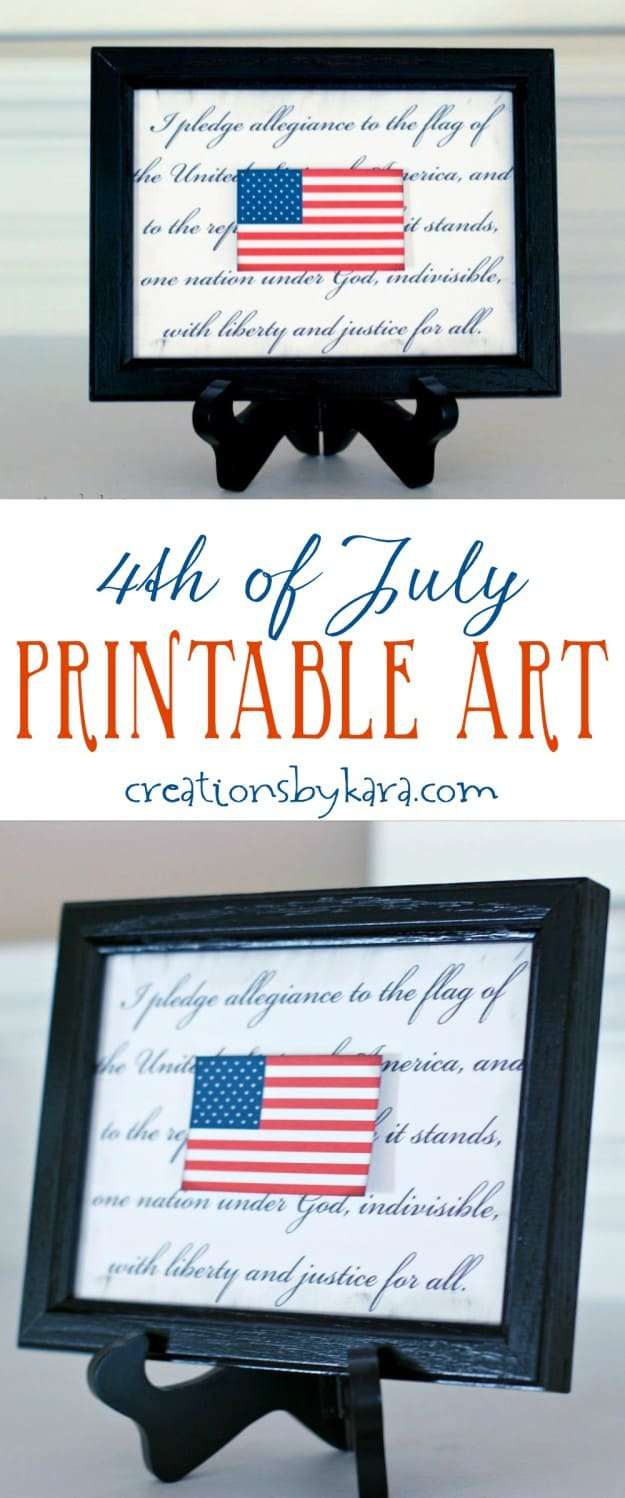 4th of july printable art with a flag collage