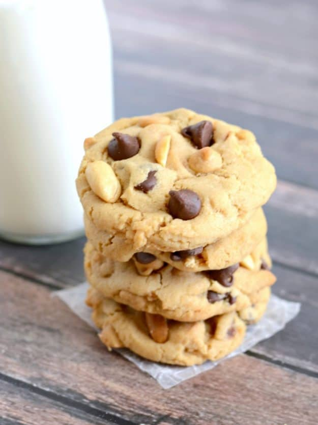 stack of the best peanut butter chocolate chip cookies