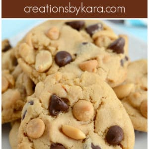 peanut butter chocolate chip cookies with peanuts