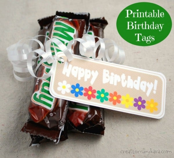 Free Printable Birthday Gift Tags- perfect for LDS Young Women's