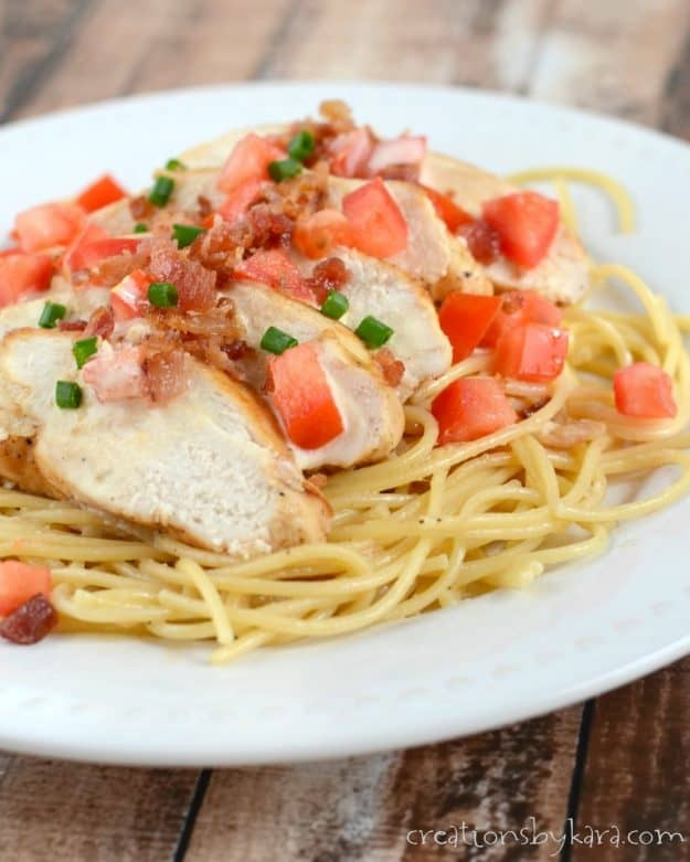Creamy Lemon Bacon Chicken and Pasta. A colorful and mouthwatering chicken recipe!