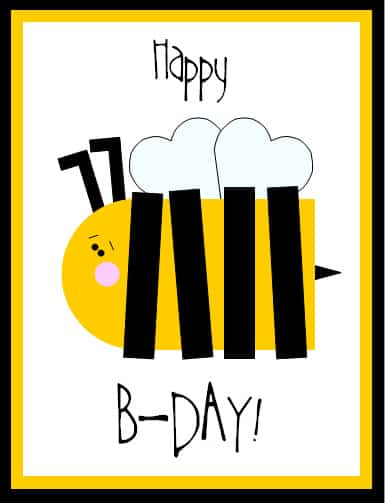 B Day Cards Printable Free