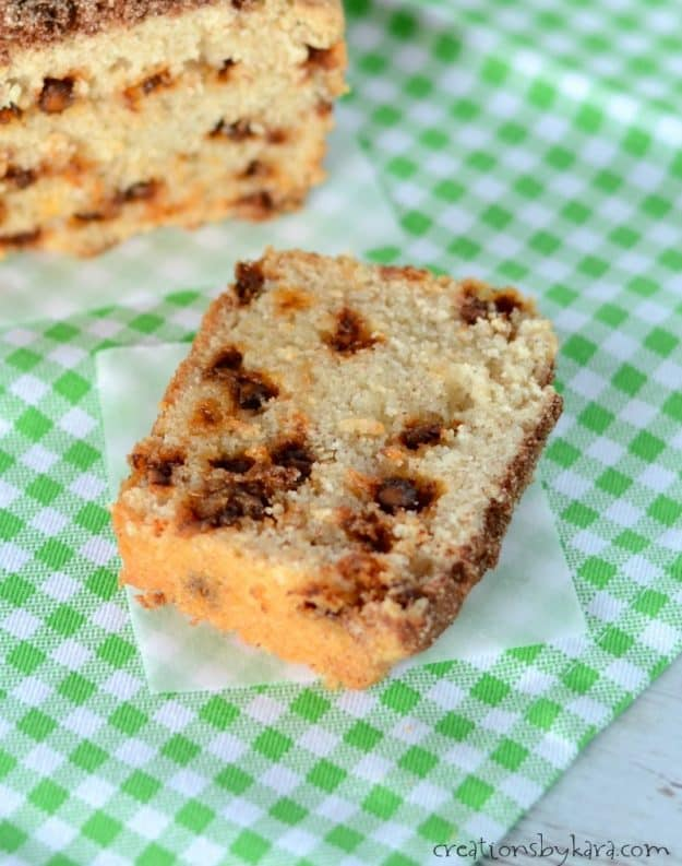 slice of cinnamon bread with cinnamon chips