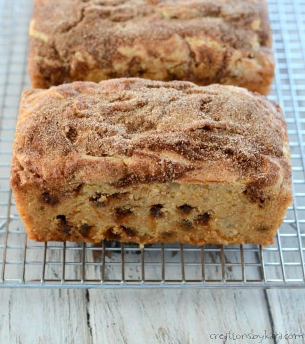 Cinnamon sugar snickerdoodle quick bread