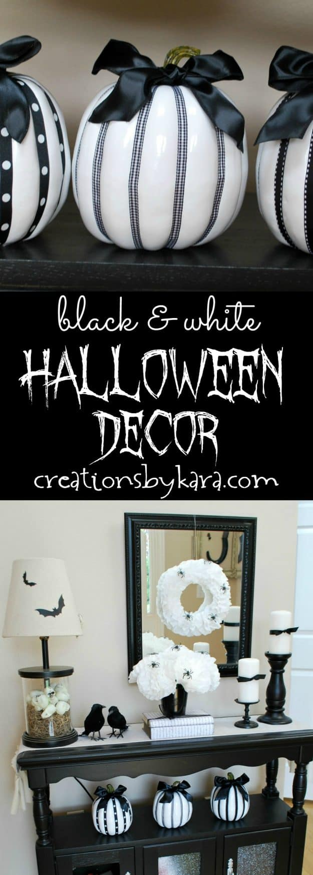 Black and white Halloween decor