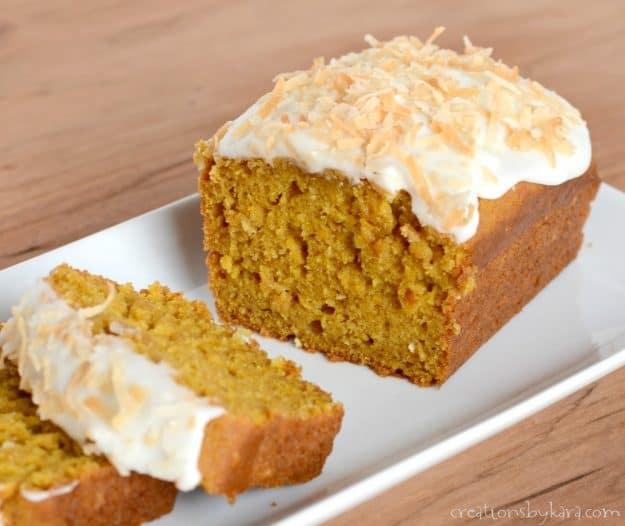 Recipe for Coconut Pumpkin Bread - a perfect fall quick bread recipe. Everyone loves it, but especially coconut fans!