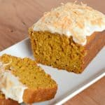 Moist and delicious Coconut Pumpkin bread. It is delicious served plain, or with cream cheese frosting!