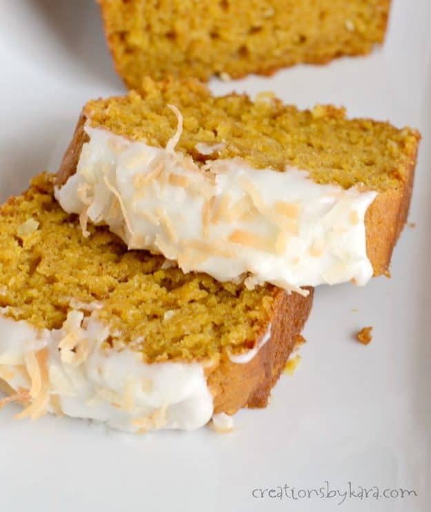 Pudding in the batter makes this Coconut Pumpkin Bread extra moist and delicious. Top it with cream cheese frosting for an extra special treat. It is a perfect fall quick bread recipe!