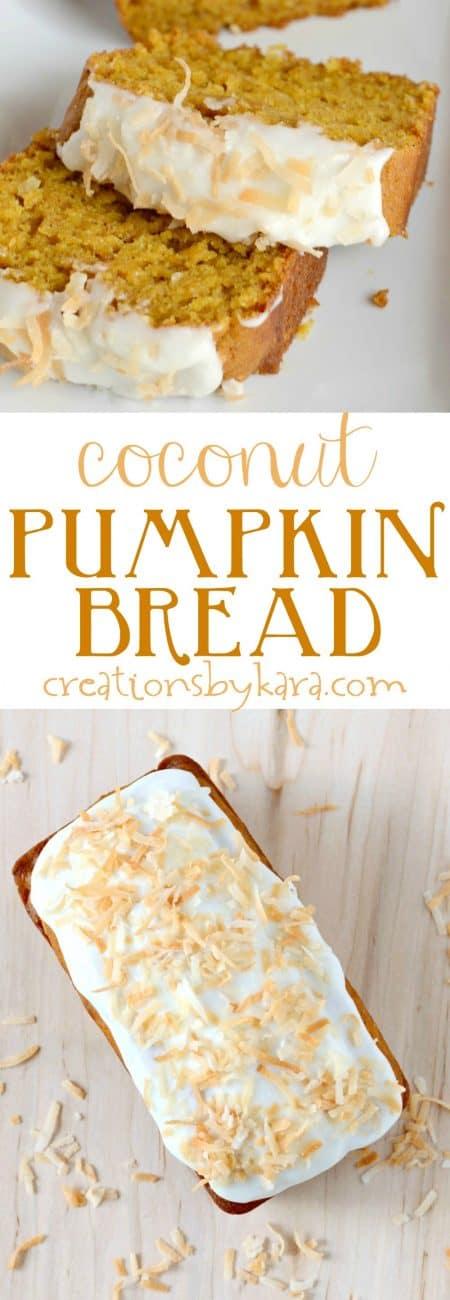 coconut pumpkin bread recipe collage