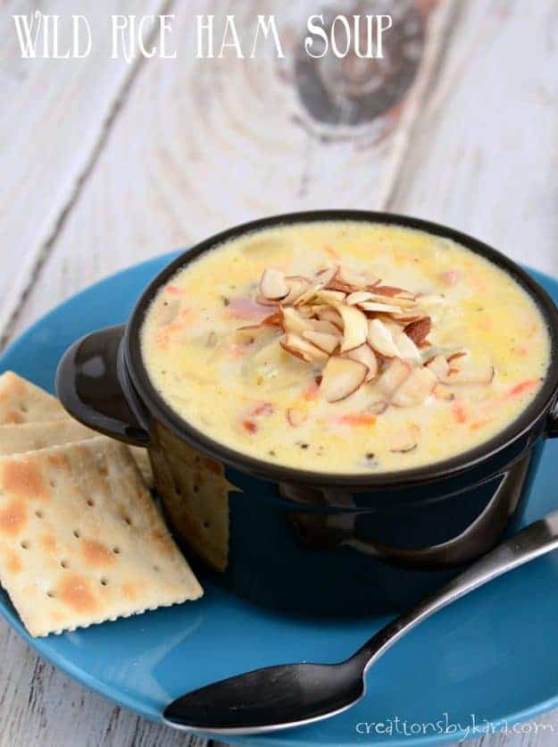creamy wild rice soup with ham title photo