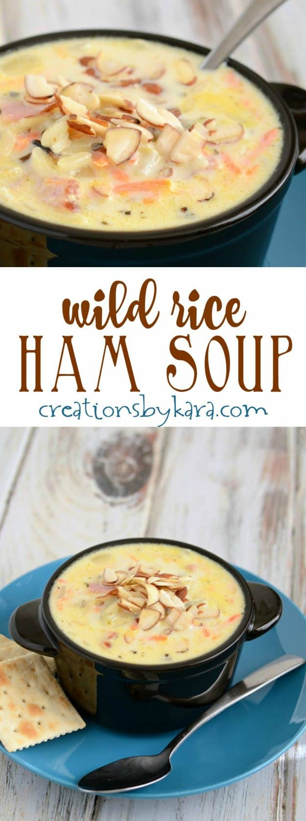 Quick to make and absolutely delicious, this Ham Wild Rice Soup is sure to become a favorite soup recipe!