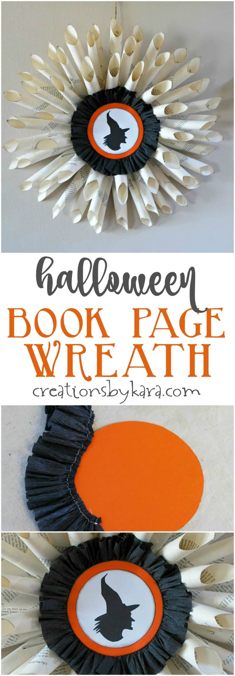 Halloween book page wreath tutorial | Halloween wreath instructions | easy Halloween wreath made with book pages