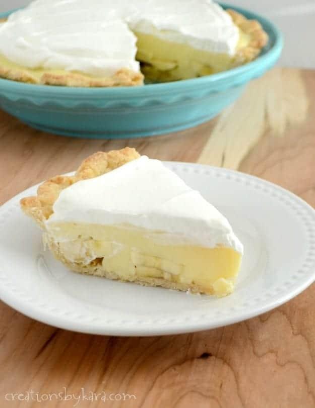 slice of banana pie with whipped cream