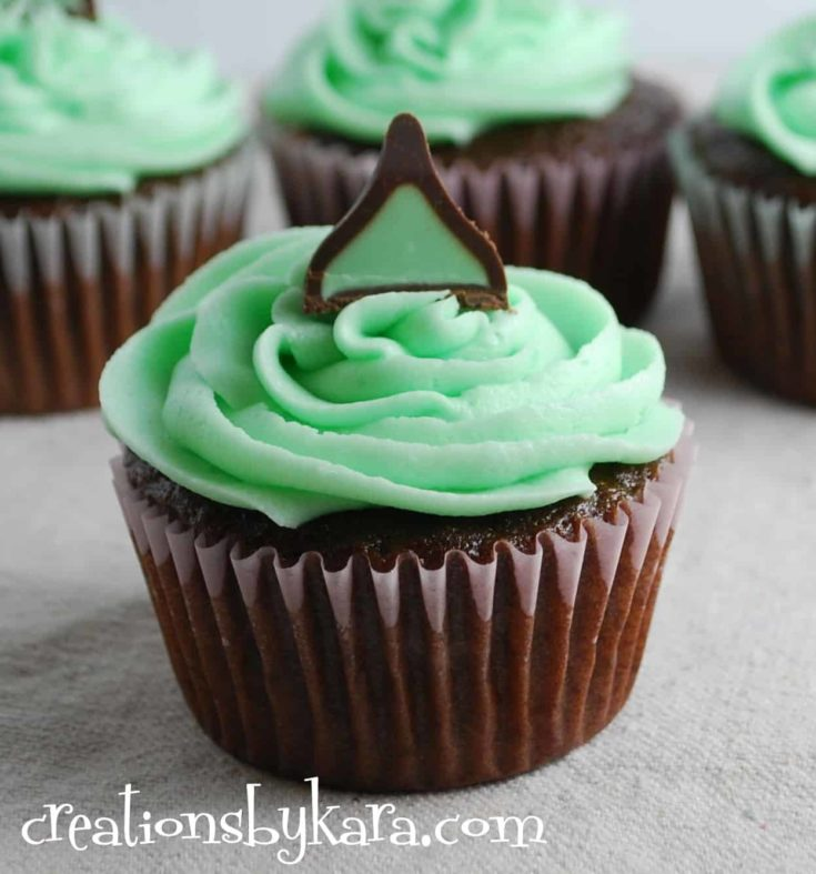 Mint Chocolate Cupcakes with Mint Truffle filling