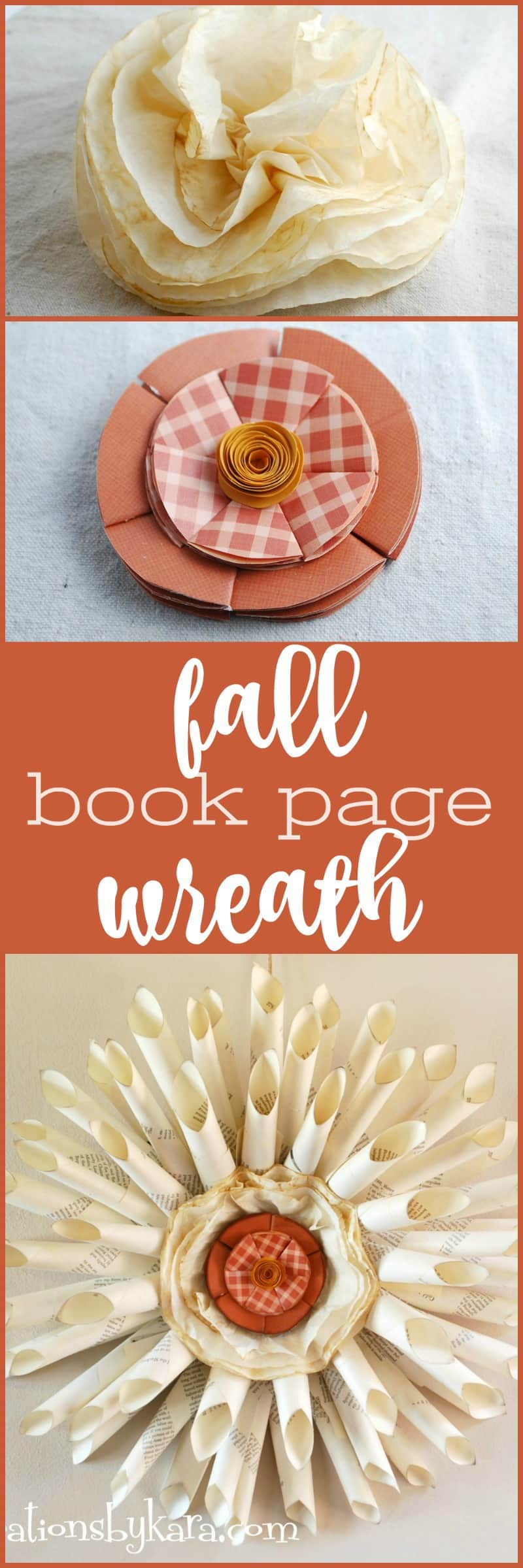Pretty Fall Book Page Wreath with interchangeable center. Switch out the middle to match different seasons. An easy fall decor project.