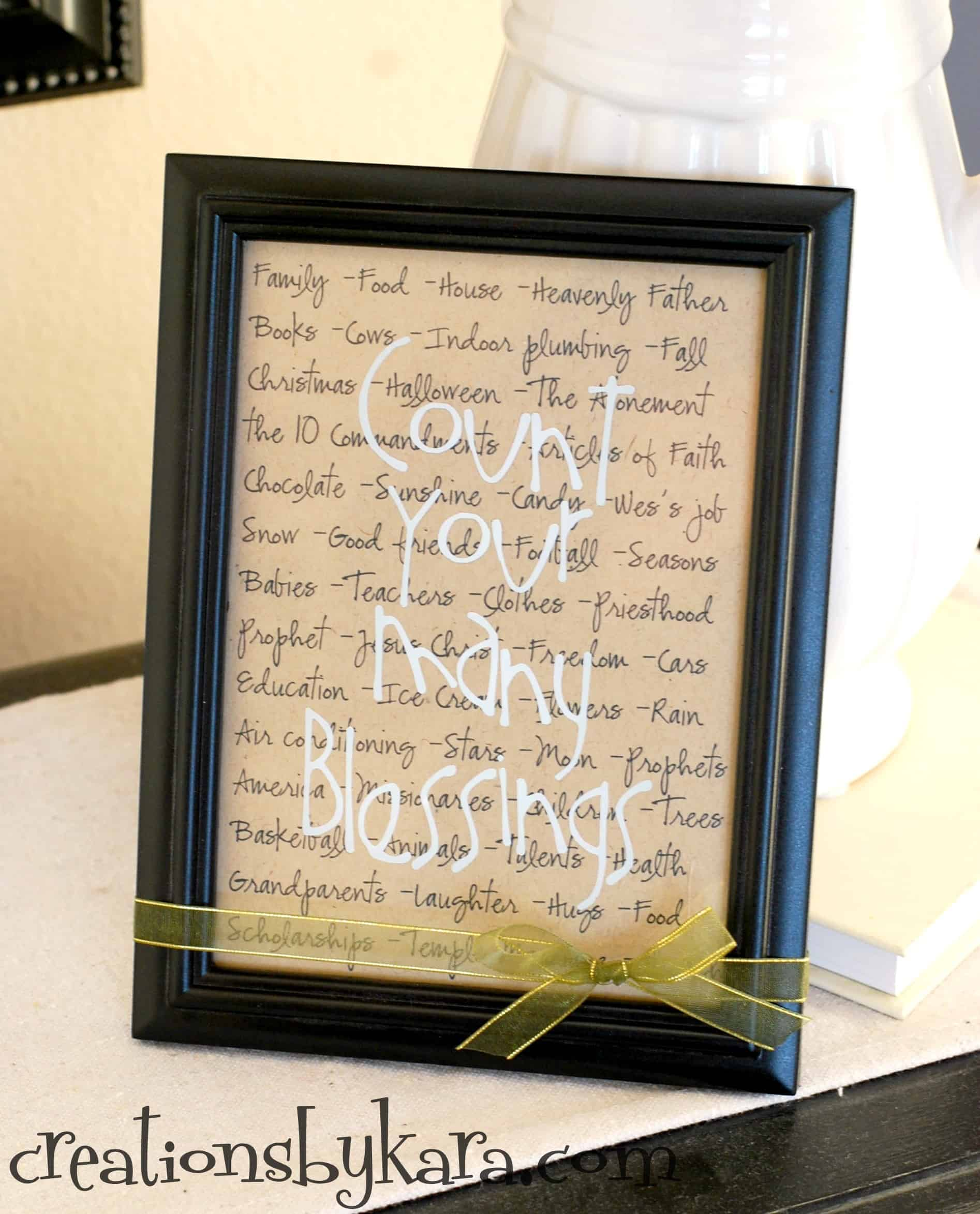 Thanksgiving Decor- Framed Blessings Sign