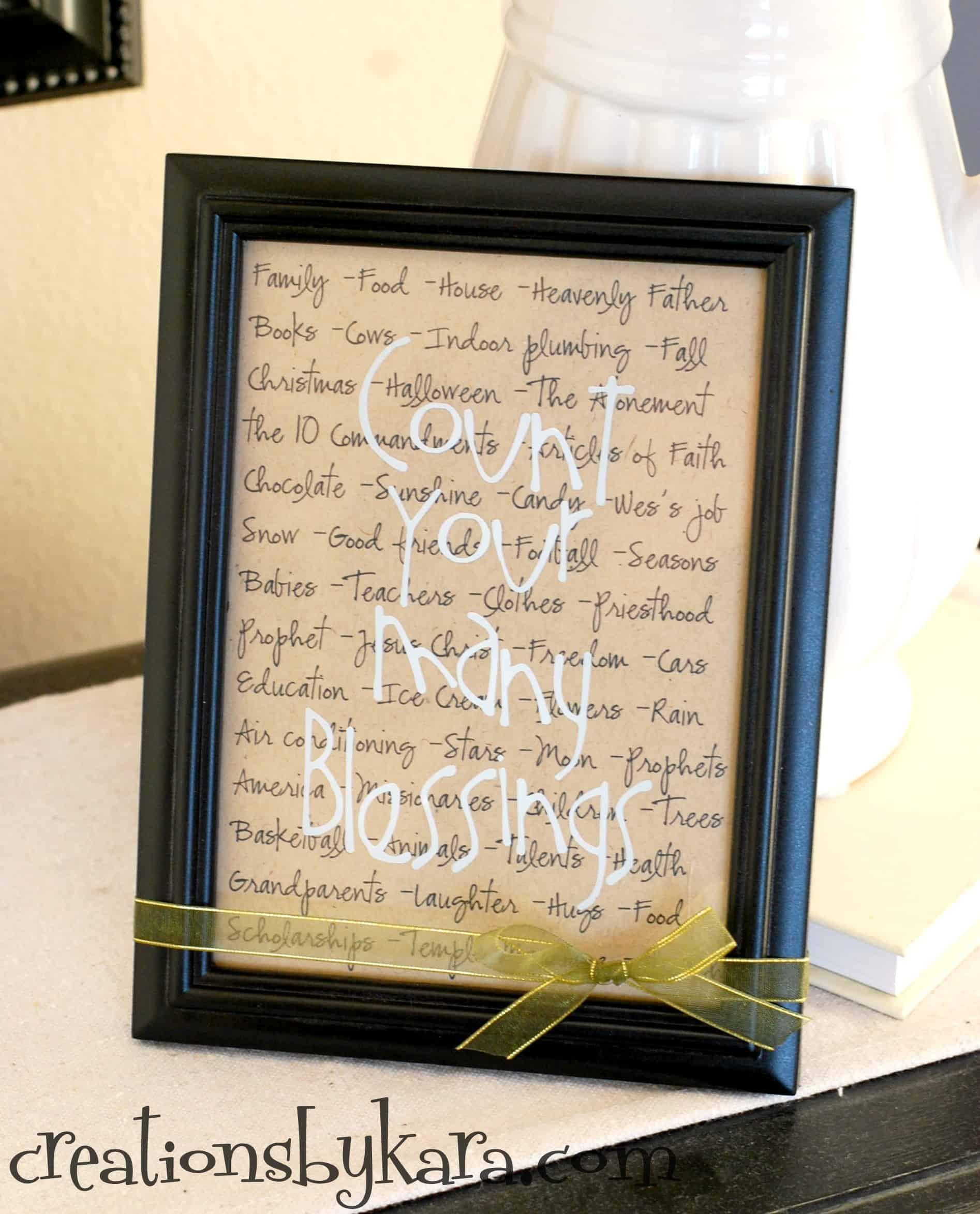Diy Gift Idea Day Teacher Home Art Decor: Thanksgiving Decor- Framed Blessings Sign