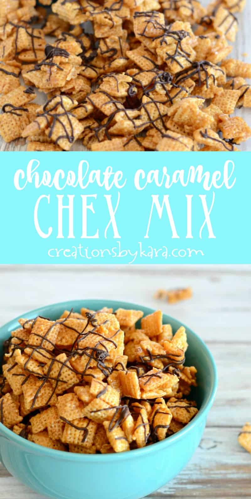 Easy Chocolate Caramel Chex Mix - make this snack mix as crunchy as you like by adjusting the cooking time. A perfect recipe for caramel lovers! #chexmix #snackmix #caramel #easyrecipe