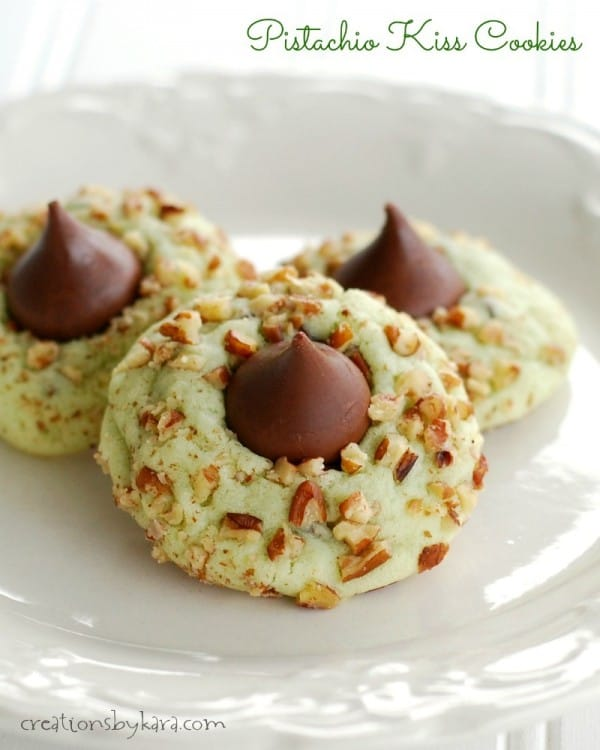 plate of pistachio kiss cookies