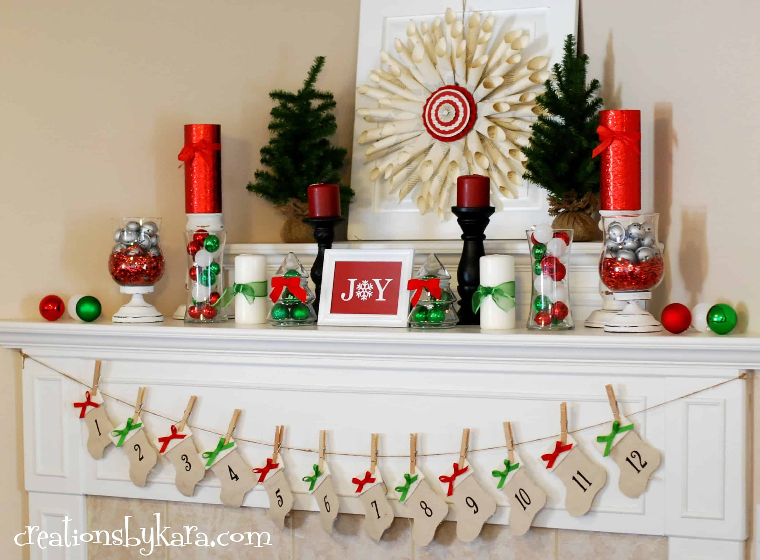 Christmas mantel decor 2012 creations by kara for Easy christmas home decorations