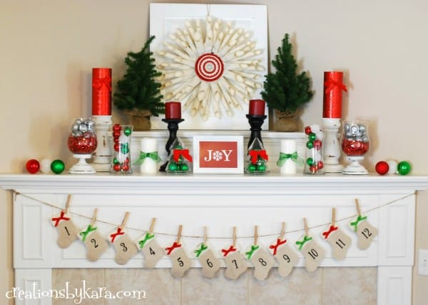 red and green christmas mantel - Christmas Mantel Decor