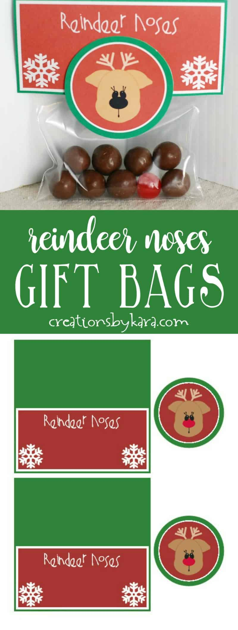 Reindeer Noses . . . These printable gift bag toppers make quick, easy, and adorable Christmas gifts for anyone!