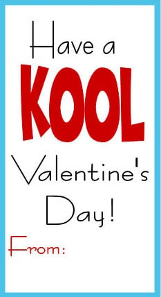 graphic relating to Valentines Free Printable titled Printable Valentine card with Kool-Help