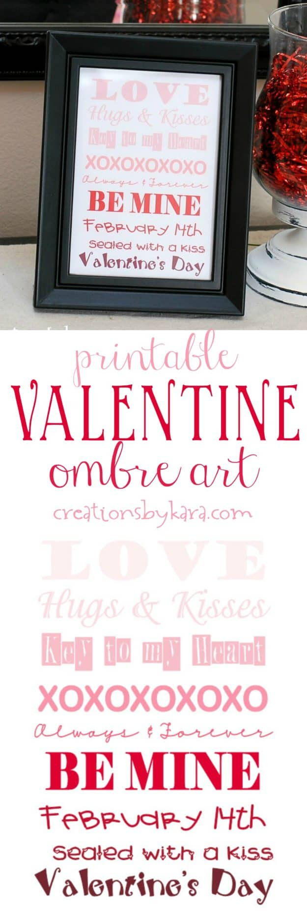 Printable Valentine's Day Ombre Art - print this art out for fast Valentine's Day decor. Free printable Valentine's Day decor