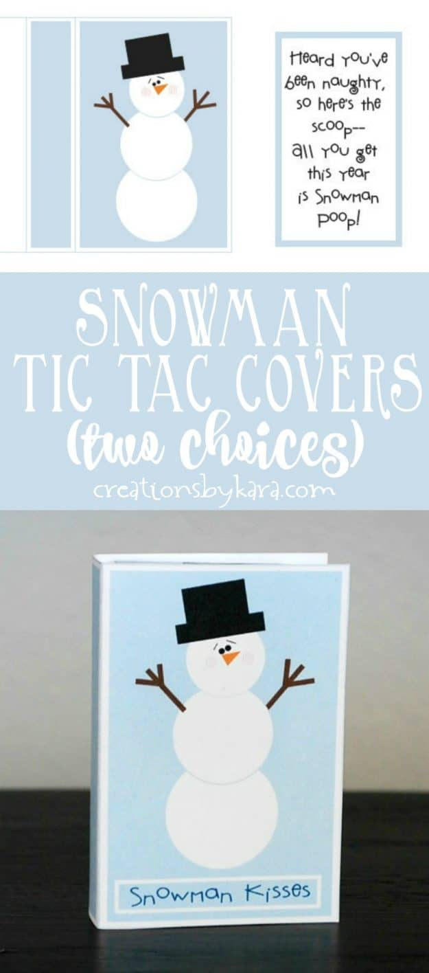 Print out these cute Snowman Tic Tac Covers for a quick and easy gift.
