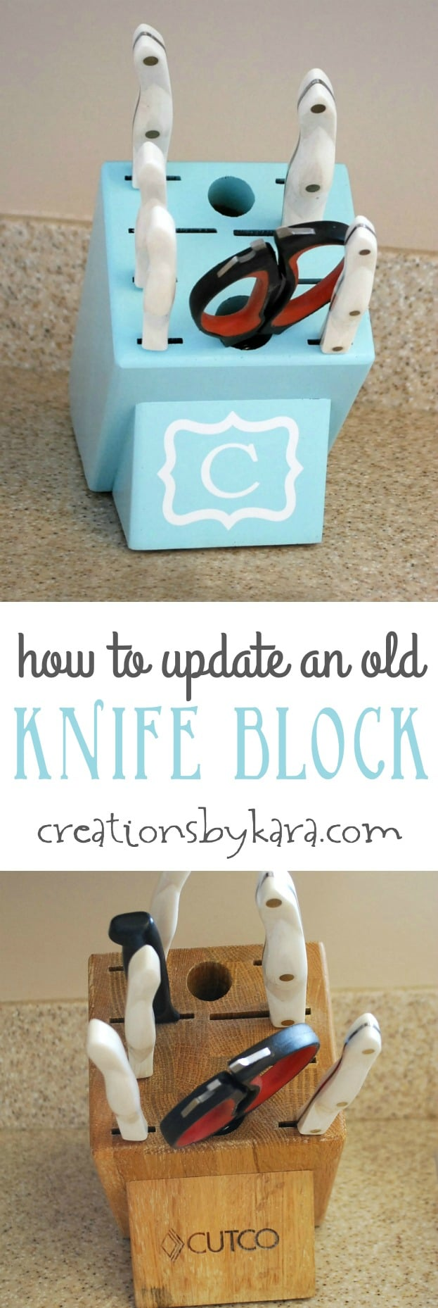 A painted knife block is an easy way to add a pop of color to your kitchen! This tutorial shows you how!