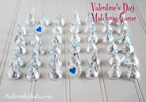 valentines day free matching game with hershey kisses