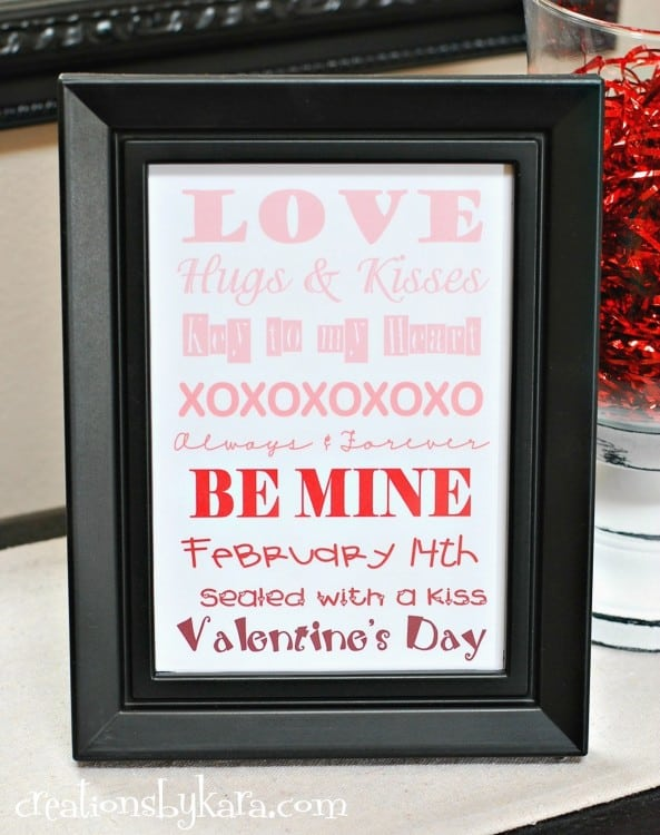 Free printable Valentine's Day Ombre Art - quick and easy Valentine decor project