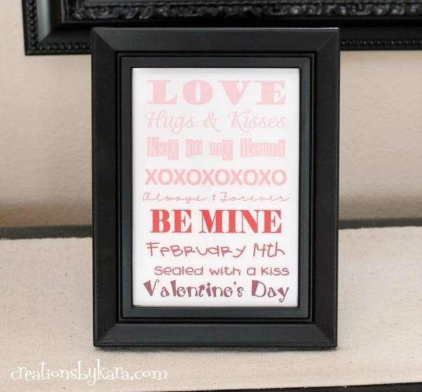 Need some quick Valentine's Day decor? Print this free Valentine's Day Ombre Art.