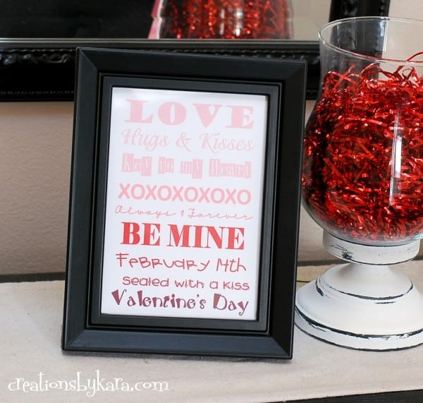 Valentine's Day Ombre Art - free printable Valentine's day decor