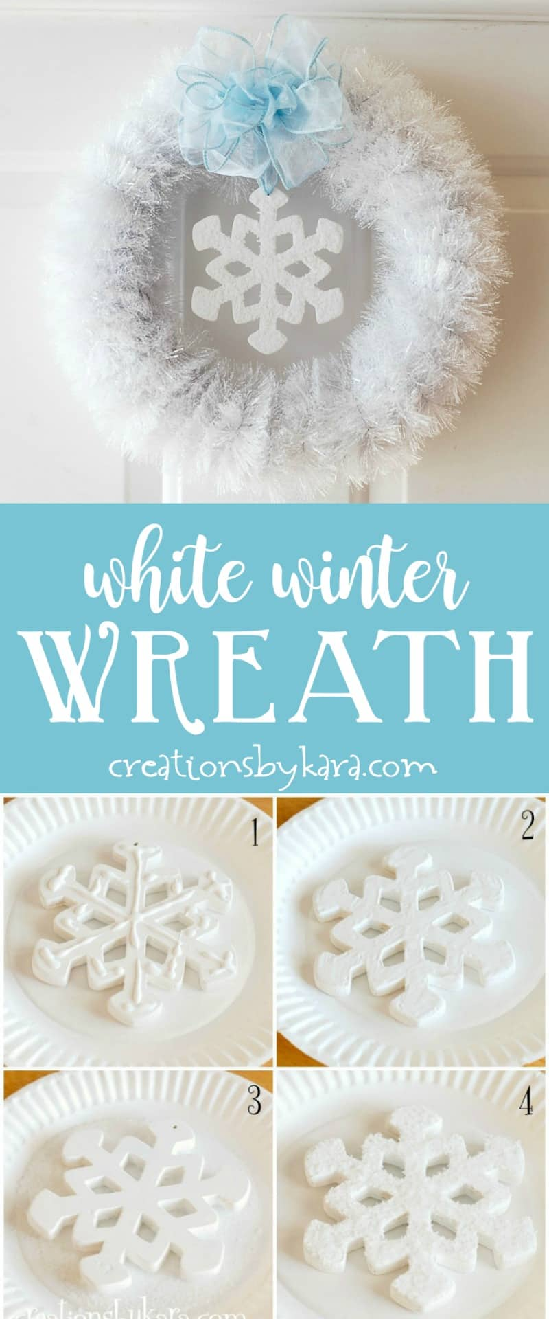 Add a little sparkle to your front door with this White Winter Wreath! It is super simple, but so pretty. #snowflake #winterdecor #wreath