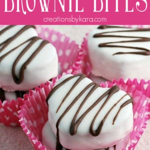 heart shaped brownie bites with white chocolate in cupcake liners