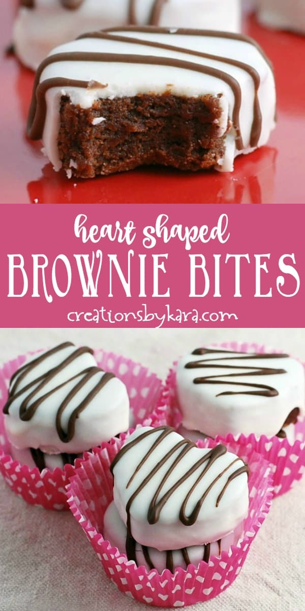 valentine's day heart shaped brownie bites recipe collage